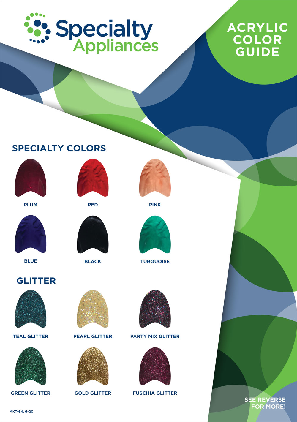 Specialty Appliances Orthodontic Laboratory Color Chart